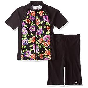 (ネネ)NeNe NENE袖付き花柄撥水フィットネスセパレート大きいサイズ水着 1051-608 151BLK ブラック 17LL