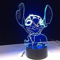 Dtcrzj Aiステッチ3D Ledランプ新しいかわいい寝室のテーブルナイトライトアクリルパネルUsbケーブル7色変更タッチビーランプキッズギフト