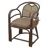 山善(YAMAZEN) 籐(ラタン)製 らくらく立ち上がり高座椅子(座面高さ44cm) ブラウン TF20-531H(BR)