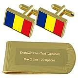 チャドの国旗のゴールド・トーン カフスボタン お金クリップを刻まれたギフトセット