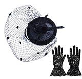 Heartfulst 帽子 トーク帽 レディース レース パーティドレス 手袋 セット アクセサリー