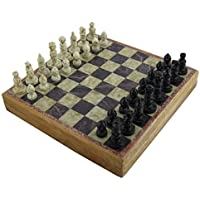 Marble Stone Art Unique India Chess Pieces and Board Set 8 X 8 Inches [並行輸入品]