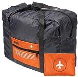 (エリニカ) elinika 空の旅を快適に 折りたたみ バッグ 機内 持ち込み 用 ボストンバッグ (オレンジ)
