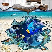 Xbwy カスタム3Dフォトフロア壁紙キッチン地上オーシャンワールド動物イルカの壁壁画紙Pvc自己粘着ウォールステッカー-200X140Cm