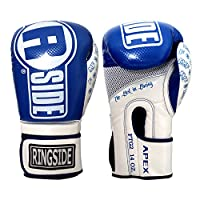 (410ml, Blue/White) - Ringside Apex Flash Sparring Gloves, Black/Gold, 410ml