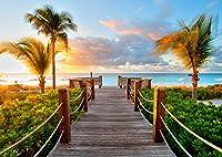 絵画風 壁紙ポスター (はがせるシール式) ビーチ カリブ海 タークスカイコス諸島の夕暮れ 夕陽 キャラクロ BCH-035A1 (A1版 830mm×585mm) 建築用壁紙+耐候性塗料