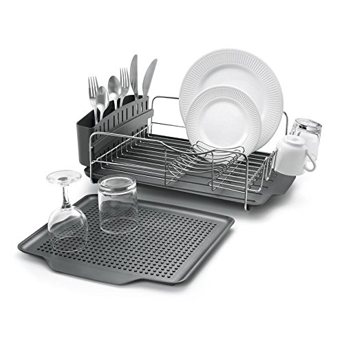 Polder KTH-615 Dish Rack & Tray 4 PC Combo- Advantage System Includes Rack, Drain Tray, Removable Drying Tray & Cutlery Holder - Stainless Steel & Plastic