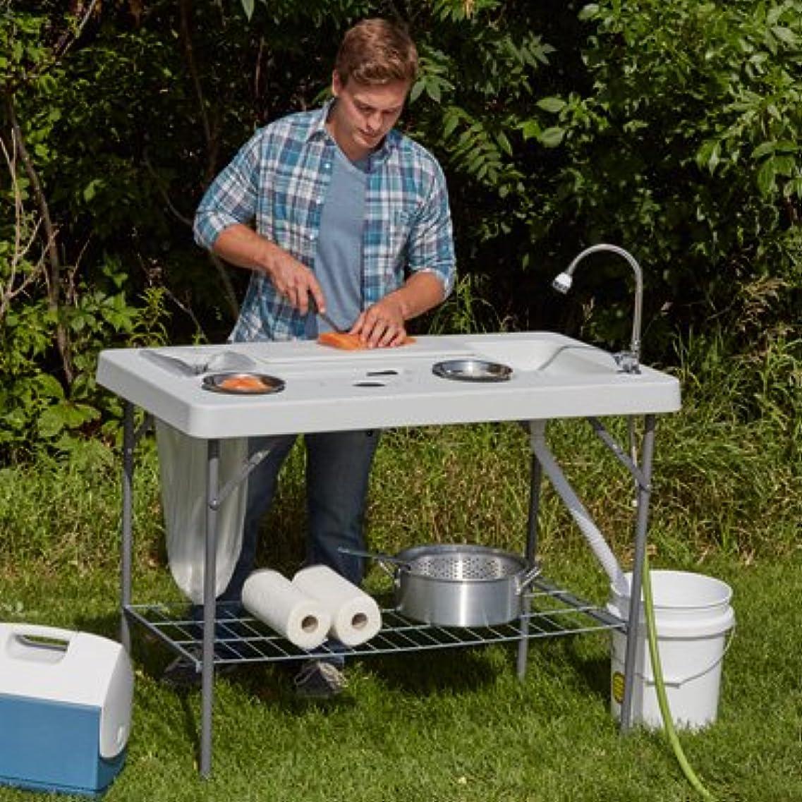 浸漬コンチネンタル天デラックス 魚 クリーニング キャンプ テーブル フレキシブル 蛇口付き