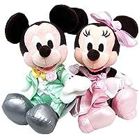 ディズニー ウェディング ミッキー ミニー マウス ぬいぐるみ ペア セット 小 (グリーン、ピンク服) ウェルカムドール 結婚式 ブライダル 結婚