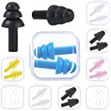 9 Pairs Silicone Swimming Earplugs Waterproof with Case, Reusable Flexible Silicone for Sleep, Noise Sensitivity, Flights, Sw