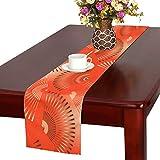 LKCDNG テーブルランナー 赤い 美しい 和風の扇子 クロス 食卓カバー 麻綿製 欧米 おしゃれ 16 Inch X 72 Inch (40cm X 182cm) キッチン ダイニング ホーム デコレーション モダン リビング 洗える