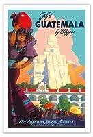 クリッパーによってグアテマラ - パンアメリカン航空 - ティカルマヤ - ビンテージな航空会社のポスター によって作成された マーウ・ファン・アレンバーグ c.1949 - アートポスター - 76cm x 112cm
