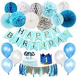 1歳誕生日飾り ブルー happy birthdayバナー  ONEハイチェアバナー ペーパーファン ハニカムボール ケーキトッパー 男の子 1歳お祝い パーティー飾り付け 部屋飾り付け