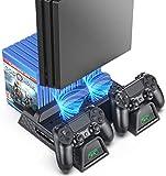 PS4スタンド PS4スリム PS4 PRO 縦置きスタンド OIVO PS4充電スタンド PS4 Pro冷却 ファン付 コントローラ2台充電 LED指示ランプ付 ゲームカード収納