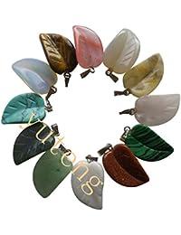 [yuteng] 12つセット 彫刻されたミックスストーンアゲート 葉形 天然石 パワーストーン ペンダント ビーズ ネックレス