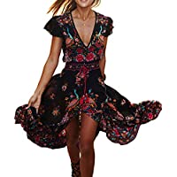 R.Vivimos Women's Floral Print V-Neck High Low Long Dresses