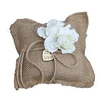 結婚式ブライダルヘッセバーラップリング枕クッション無記名白い花の装飾