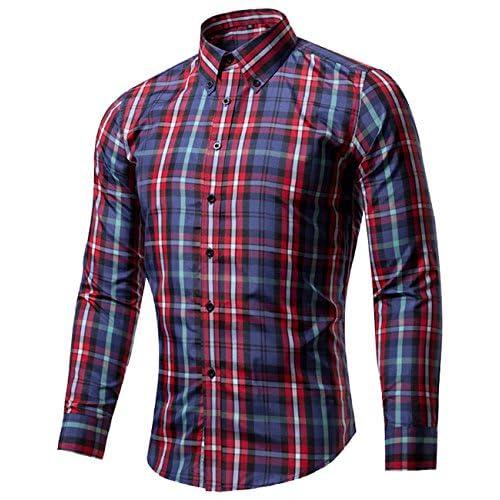 (シャンディニー) Chandeny カジュアル チェック柄 シャツ メンズ 長袖 コットン スリムシャツ トップス アメカジ 15165 #11 3XL サイズ