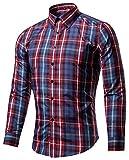 メンズ ワークパンツ (シャンディニー) Chandeny カジュアル チェック柄 シャツ メンズ 長袖 コットン スリムシャツ トップス アメカジ 15165 #11 XL サイズ