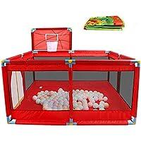 8パネルは、バスケットボールのフープと床マット付きの赤ちゃんの遊び場を折りたたむ子供の男の子女の子の遊びペンの部屋の分冊子オックスフォードの布 (色 : Red)