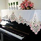 欧式 簡約 ピアノカバー ファッション バラ 透かし彫り じゃカード 人気 ピアノトップカバー アップライト 静電気防止 お祝い ホーム 高品質 トップカバー 防塵カバー 灰つけない 三色