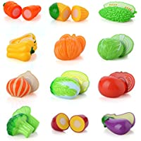 PovKeever ままごと 野菜セット 野菜おもちゃ 食べ物セット 調理ごっこ 切れる野菜 果物 まな板 ほうちょう 知育玩具 入園お祝い 誕生日 プレゼント 15点