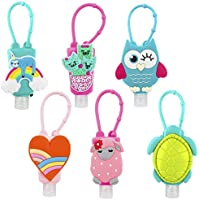 Biubee 6 Sets Various Pattern Cartoon Silicone Hand Cleaner Holders with Hand Refillable Bottles Mini Detachable Kids Portable Plastic Leak Proof Liquid Soap Bottles for Travel Daily Use