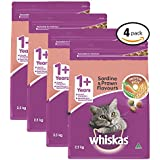 WHISKAS 1+ Years Sardine and Prawn Dry Cat Food 2.5kg Bag, 4 Pack