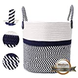 """MHB Cotton Rope Storage Basket,11""""x 10"""" Blanket Storage Basket with Long Handles,Decorative Clothes Hamper Basket,Small Baskets for Blankets Pillows or Laundry"""