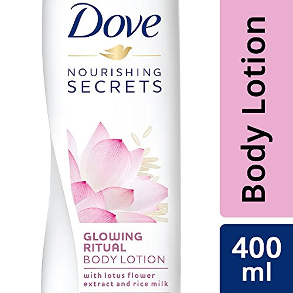 黙認する賛美歌染料Dove Glowing Ritual Body Lotion, 400ml (Lotus flower and rice milk)