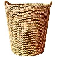 DCAH ストレージバスケットベトナム秋ラタンストローストローストレージバスおもちゃストレージバスケットランドリーバスケットランドリーBucket2スタイルオプション Laundry basket (サイズ さいず : 37 * 38 * 25cm)