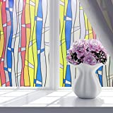 (D) - Hongxin House Decoration Fashion Home Flower Frosted Frost Glass Privacy Scroll Window Static Cling Cover Self Adhesiv Bedroom Bathroom Window Glass Waterproof Film Sticker By 45x100cm (D)