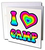 Dooni Designs–Groovy I Heart Love Designs–GroovyのヒッピーレインボーI Heart Love Camp–Greeting cards-6グリーティングカード封筒付き(GC _ 217369_ 1)