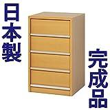 日本製 完成品 CDラック CDキャビネット 大容量 引き出しタイプ 4段 木製 (ナチュラル)