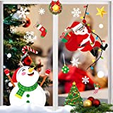 Veiai Christmas Window Clings, 162PCS Window Sticker Decoration Decals for Glass, 5 Sheets Winter Decorations Ornaments Snowflake Santa Claus Reindeer Decals for Party Supplies (Sticker-E)