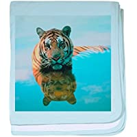 CafePress – Surreal Tiger – スーパーソフトベビー毛布、新生児おくるみ ブルー 064816690325CD2