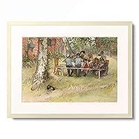 カール・ラーション Carl Larsson 「Breakfast under the big birch」 額装アート作品