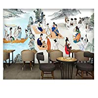 Mrlwy レトロな風景壁画クッキングレストランの壁紙3Dステレオバーベキュー鍋スナックショップ壁画-120X100CM