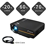 Elephas 1800 Lumens LED Movie Projector, Support 1080P 150'' Portable Mini Projector Ideal for Home Theater Cinema Video Entertainment Games Party (Black)