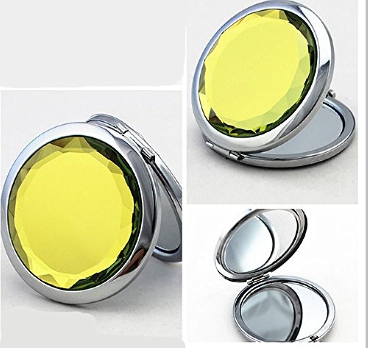 非常に怒っています石油アウターSHINA 宝石飾りのコンパクトミラー クリスタル調化粧鏡拡大鏡付き 丸型の折りたたみ鏡 化粧箱入りミラー 手鏡 おしゃれの小物 (mirror-1-G)
