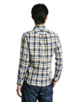 Linen Cotton Madras Buttondown Shirt 1211-149-5000: Navy