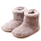 (Island Puppy) あったか ルーム シューズ ボア ブーツ 室内 履き 冬 もこもこ スリッパ 靴下 防寒 (M, ベージュ)