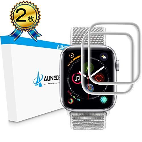 『6D全面粘着』AUNEOS Apple Watch フィルム Series4 44mm 日本製素材旭硝子【オリジナル製品 】 最先端補助道具 Apple Watch ガラスフィルム 炭素繊維 曲面カバー 高透過率 耐指紋 硬度9H アップルウォッチ フィルム (Series4 44mm, 44mm 銀2枚)