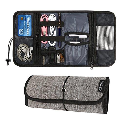 PRITEK 収納ポーチ PC小物収納 ガジェットケース イヤホン マウス sdカード ケーブル整理 工具入れ 旅行用 耐水性 耐久性 軽量 グレー