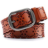 WERFORU Women Leather Belt For Jeans Dress Pants Genuine Cowhide Leather Belt With Alloy Buckle
