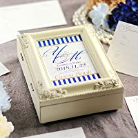 名入れ芳名帳「ネイビーストライプ」アンティーク芳名BOX /結婚式ゲストブック