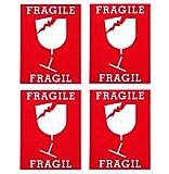 【FRAGILE】ステッカー ~割れ物在中! 取り扱い注意!~ 防水シール 4枚セット