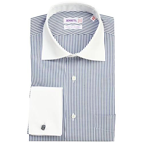 (スキャッティ)SCHIATTI 80番手双糸ブロードストライプワイドカラークレリックWカフシャツ 225512 29 ネイビーストライプ 43