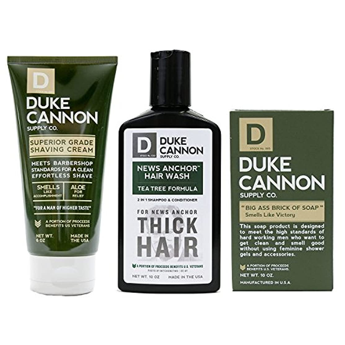 乳白平手打ち傷つきやすいMens Duke Cannon Grooming Bundle of 3 products; 1 6oz Superior Grade Shaving Cream, 1 10 oz Smells Like Victory...