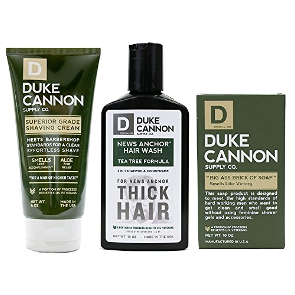 国民投票分類する先見の明Mens Duke Cannon Grooming Bundle of 3 products; 1 6oz Superior Grade Shaving Cream, 1 10 oz Smells Like Victory Soap Bar, 1 Hard-working 2-in-1 Hair Wash by Duke Cannon